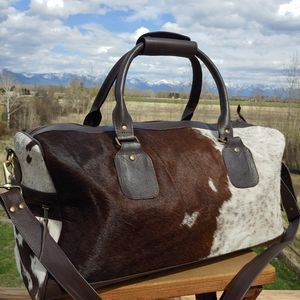 🔥Leather Cowhide Duffel Bag Weekender Travel New